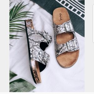 Shoes - 🆕️//The Lucia// Snake print buckled Sandals